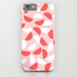 Semi Circles Red and White on Pink iPhone Case