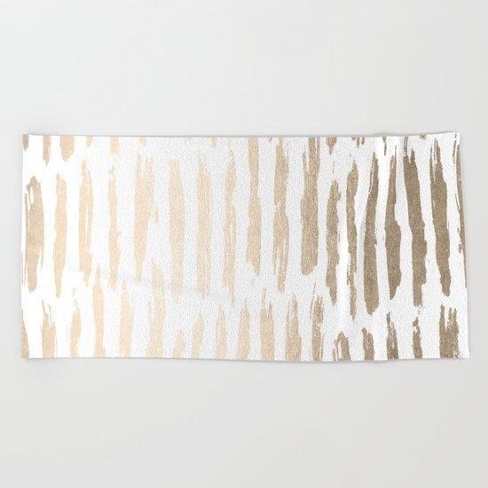 White Gold Sands Vertical Dash Beach Towel