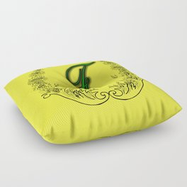 the letter F in a leaves and flowers . Art Floor Pillow