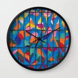 Sunset in a Grid Wall Clock
