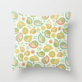 Hedgehog Paisley_Green outline Throw Pillow