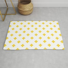 Yellow Swiss Cross Pattern Rug