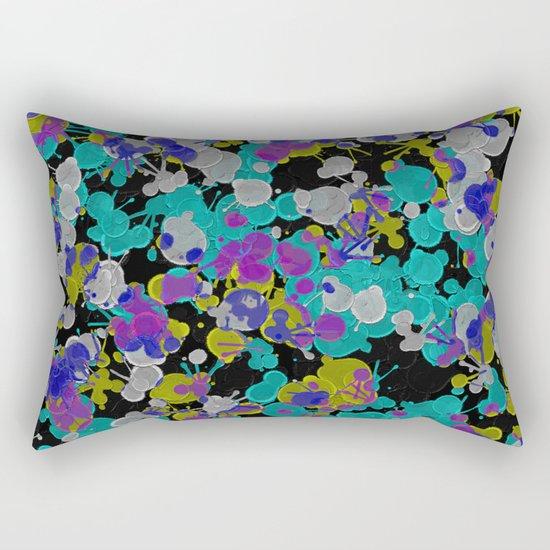 Dark Splatter - Abstract, paint splatter pattern in black, cyan, yellow, white and green Rectangular Pillow