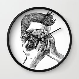 Photographer sketch portrait Wall Clock