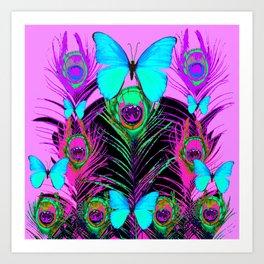 MYSTIC LILAC BLUE BUTTERFLIES PEACOCK ART Art Print