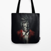 david lynch Tote Bags featuring David Lynch by Rafal Rola