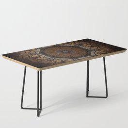 Rich Brown and Gold Textured Mandala Art Coffee Table