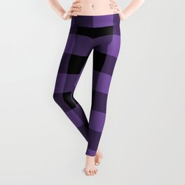 Purple and Black Gingham Pattern Leggings