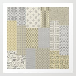 Modern Farmhouse Patchwork Quilt in Gray Marigold and Oatmeal Art Print