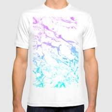 White marble purple blue turquoise ombre watercolor mermaid pattern MEDIUM White Mens Fitted Tee