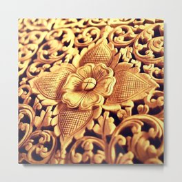 Golden Filigree Metal Print