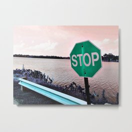 Iterations of a Stop Sign #5: Green Metal Print