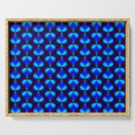 Blue diamonds from heavenly stars on dark hearts in a bright intersection. Serving Tray