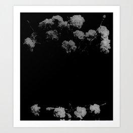 Black & White Mourning Flowers Victorian Art Print