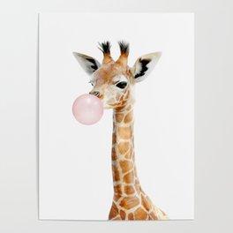Bubble Gum Baby Giraffe Poster