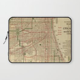Vintage Map of The Chicago Railroads (1906) Laptop Sleeve