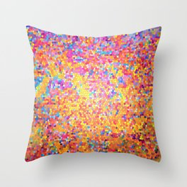 Mosaic-stained glass, abstract, vibrant, colourful Throw Pillow