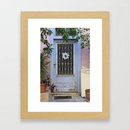Door in port of Aegina 1 Framed Art Print