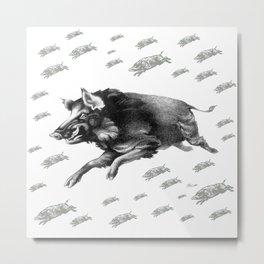 Running Boar Metal Print