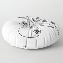 Violin, black and white Floor Pillow