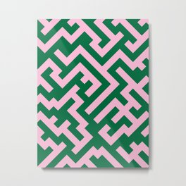 Cotton Candy Pink and Cadmium Green Diagonal Labyrinth Metal Print