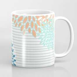 Festive, Floral Prints and Stripes, Orange, Teal, Navy Blue and Gray Coffee Mug