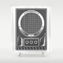 Vintage music concert audio loudspeaker in monochrome style illustration Shower Curtain