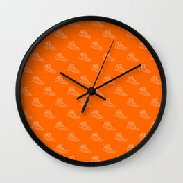Air Jordan 1 Sneaker Pattern - Orange/White Wall Clock