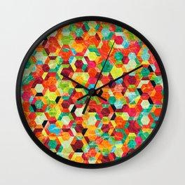 Colorful Half Hexagons Pattern #04 Wall Clock