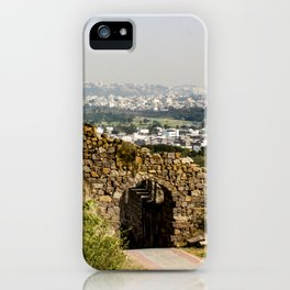 Looking at Downtown Hyderabad from Behind an Ancient Stone Wall in India iPhone Case