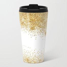 Sparkling golden glitter confetti effect II #Society6 Travel Mug