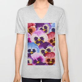 Multicolor pansies floral pattern Unisex V-Neck