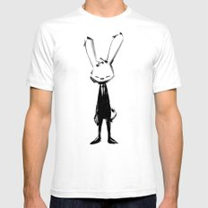 minima - beta bunny pose SMALL Mens Fitted Tee White