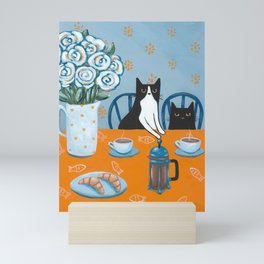 Cats and a French Press Mini Art Print