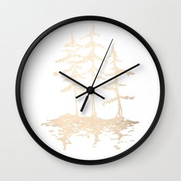 Three Sisters Forest White Gold Trees Wall Clock