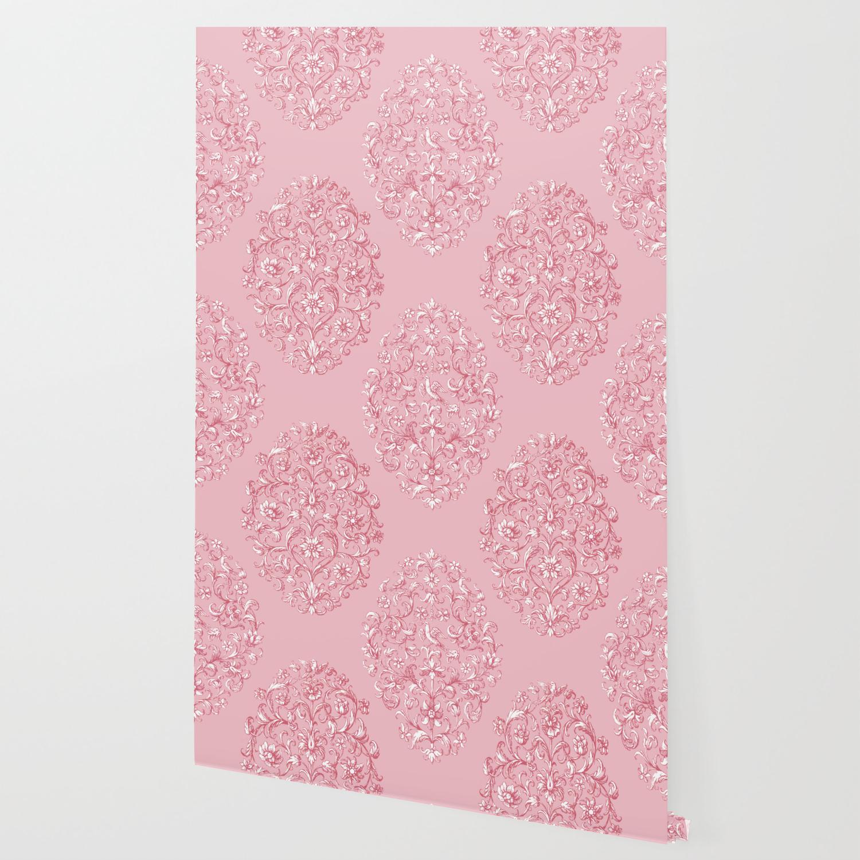 Baroque Birds Pattern Pink White Wallpaper