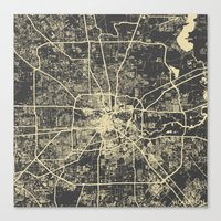 houston Canvas Prints featuring Houston Yellow by Map Map Maps