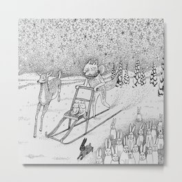 Kick-sledding Fox Metal Print