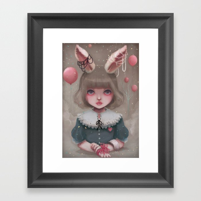 Juliette, balloons & pearls... Framed Art Print
