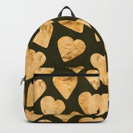Gold Shimmering Hearts Pattern on Black Silk Backpack