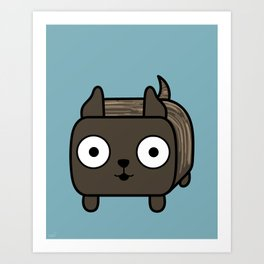 Pitbull Loaf- Brindle Pit Bull with Cropped Ears Art Print