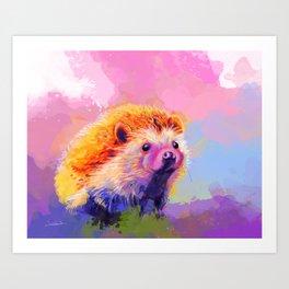Sweet Hedgehog, cute pink and purple animal painting Art Print