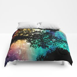 Black Trees Colorful Space Comforters