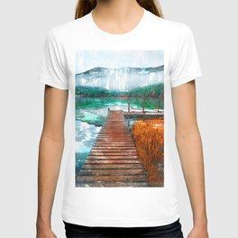 Wooden Jetty Serene Lake In Romania - Jetties Around The World T-shirt