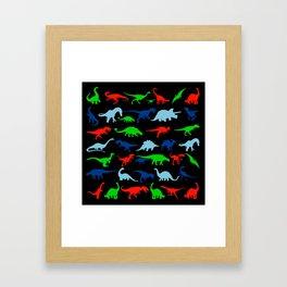 silhouettes of dinosaur pattern Framed Art Print