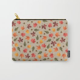 Autumn Leaves Pattern Beige Background Carry-All Pouch