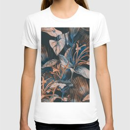 Beautiful Retro hand sketch seamless tropical dark summer forest pattern with colorful palm trees,leaves,exotic wild and plants hand drawn illustration pattern T-shirt