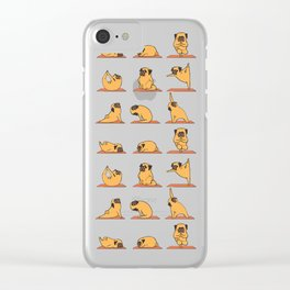 Pug Yoga In Pink Clear iPhone Case