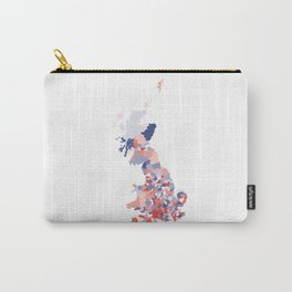 Patriotic Great Britain Map Print Abstract in Red White and Blue a great talking piece for the home! Carry-All Pouch