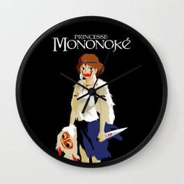 Princesse Mononoke on black Wall Clock